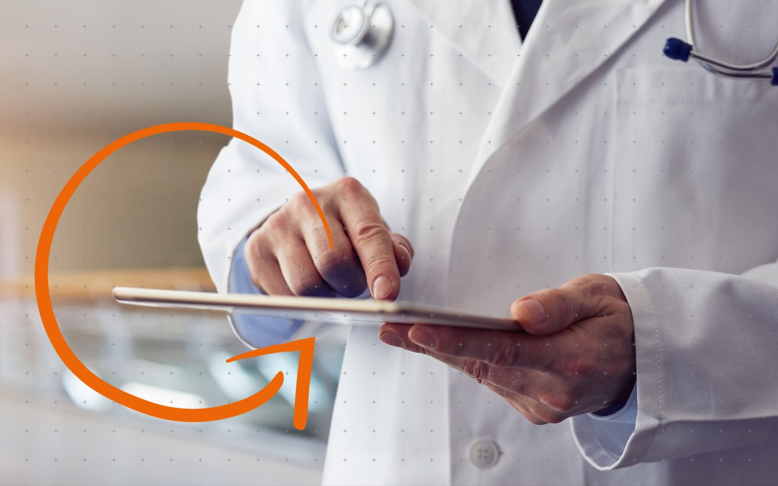 close up of doctor holding a tablet